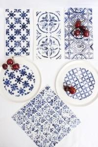 indigo, assiettes porcelaine