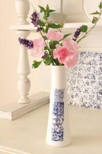 vase porcelaine patchwork bleu